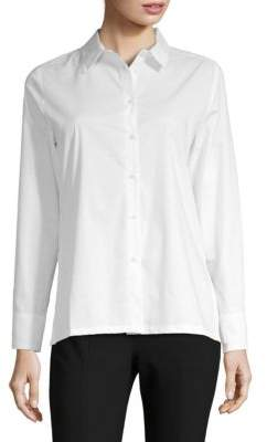 August Silk Poplin Lace-Up Blouse