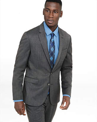 Express Extra Slim Gray Wool Blend Twill Suit Jacket