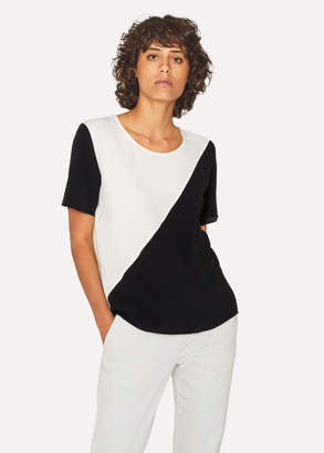 Paul Smith Women's Black And White Silk-Blend Colour Block Top