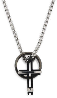Men's Set With Cross Necklace And Black Ip Ring