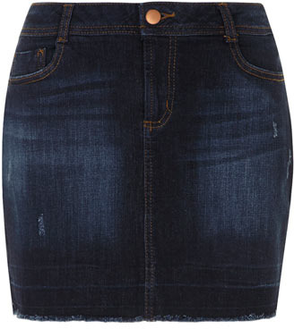 Dorothy Perkins Indigo frayed denim mini skirt