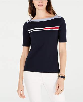 Tommy Hilfiger Cotton Flag-Logo Boatneck Top