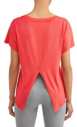 Athletic Works Women's Athleisure Fashion Split Back Tee