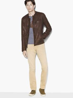 John Varvatos Band Collar Leather Jacket