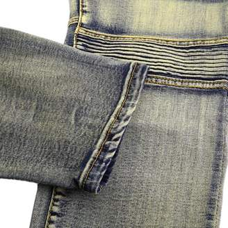 Sunrain Denim Trousers Elastic Jeans Trendy Designed Straight Slim Fit Jeans Pant Bronze Size of 36