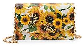 Dolce & Gabbana Women's Sunflower-Print Leather Wallet-On-Chain