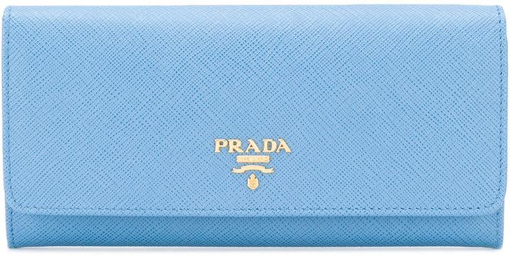 pradaPrada brand embellished continental wallet