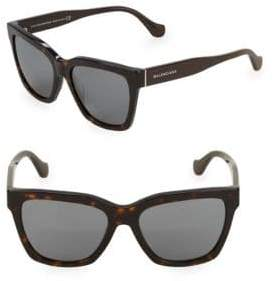 Balenciaga Tortoiseshell 55MM Square Sunglasses