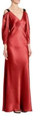 Alberta Ferretti Cold-Shoulder Silk Gown