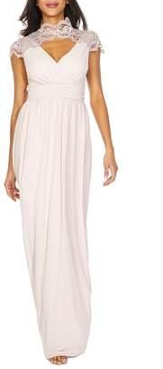 TFNC Sanna Lace Trim Chiffon Gown