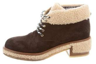 Chanel Shearling-Trimmed Ankle Boots