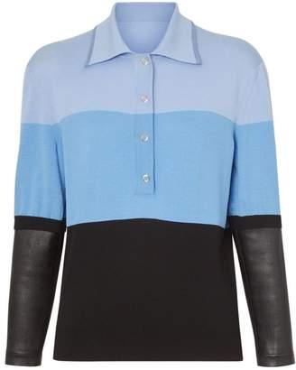 Burberry Long-sleeve Lambskin Detail Wool Polo Shirt