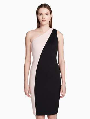 Calvin Klein one shoulder colorblock sheath dress