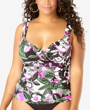 Anne Cole Plus Size Printed Tankini Top Women's Swimsuit