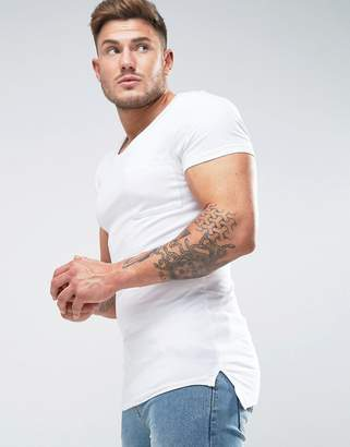 Asos Design Muscle Scoop Neck T-Shirt With Chest Pocket In White