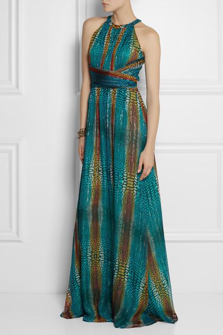 Issa Printed silk-blend georgette gown