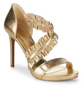 MICHAEL Michael Kors Bella Ruffle Metallic Leather Sandals