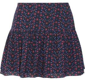 Figue Lucette Pleated Printed Cotton-Blend Mini Skirt