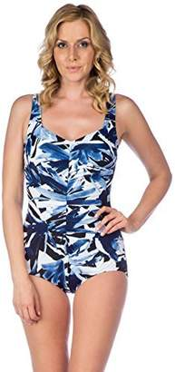 647e1e00ce Maxine Of Hollywood Women s Ink Print Shirred Front Girl Leg One Piece  Swimsuit