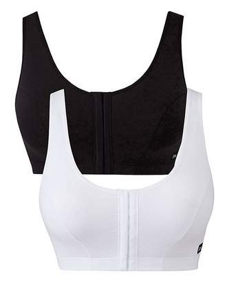 Naturally Close 2 Pack Slimma Hook and Eye Blk/Wht Bras