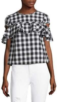 Saylor Cordelia Short-Sleeve Chequered Cotton Top