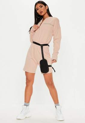 69472e77f87 Missguided Nude New Generation Zip Front Playsuit