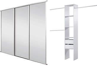 Sliding Wardrobe Door Kit W2235mm White Frame Mirror+Storage