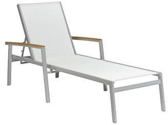 Oxford Garden Travira 2pc Chaise Lounge Natural Sling with Teak Armcaps