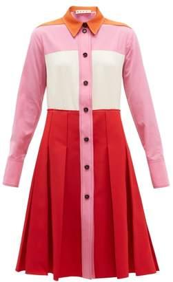 Marni Panelled Twill Shirtdress - Womens - Red Multi