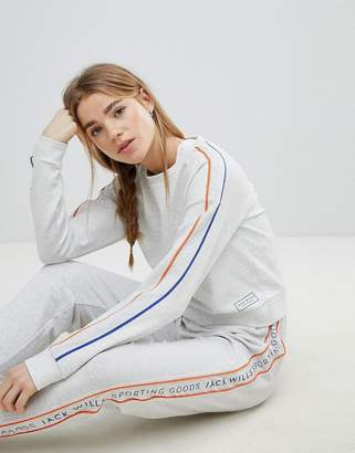 Jack Wills Cropped Crew Neck Sweatshirt with Piping Detail