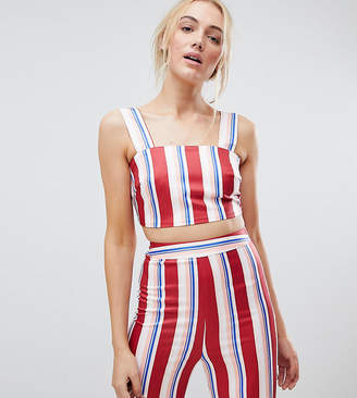 Fashion Union Tall Crop Top In Stripe Co-Ord