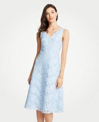 Ann Taylor Petite Floral Lace Flare Dress
