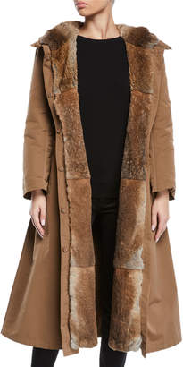 Max Mara The Cube Here is the Cube Collection Urbanl Long Removable Fur Trench Coat