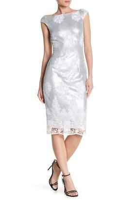 Marina Embellished Sequin Floral Accent Dress