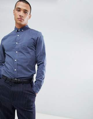 Asos Design DESIGN smart skinny check cvc shirt in blue