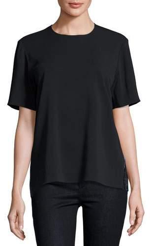 Markus Lupfer Aoife Metallic-Back Short-Sleeve Top, Black/Navy