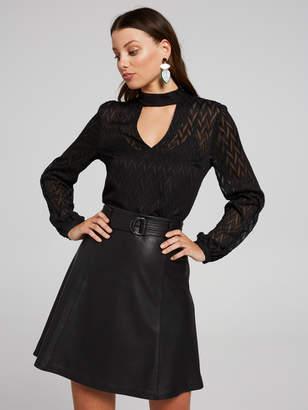 Portmans Australia Leather A-Line Belted Skirt