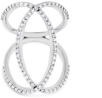 14k White Gold 0.79 Ct. Natural Diamond Double Oval Loop Large Cocktail Ring Size 6.5