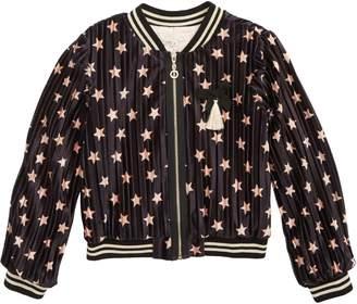 Truly Me Velvet Star Bomber Jacket