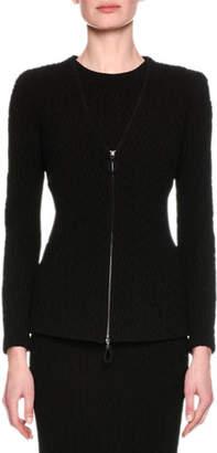Giorgio Armani Chevron Knit Zip-Front Jacket, Black