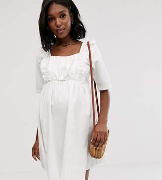 Asos DESIGN Maternity denim smock dress with frill in white