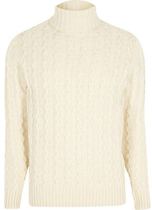 River Island Jack and Jones white knit roll neck sweater