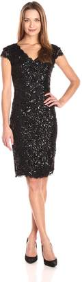 Betsy & Adam Women's Short Sequin Party Dress