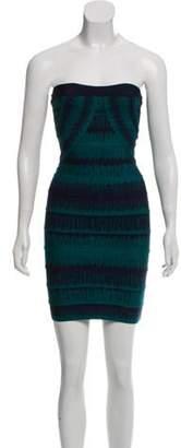 Herve Leger Lesley Strapless Mini Dress Blue Lesley Strapless Mini Dress