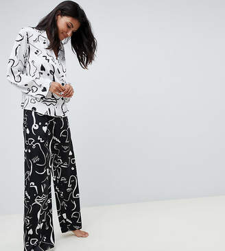 Asos Tall DESIGN Tall mono face print double breasted shirt and PANTS pyjama set