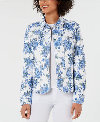 Charter Club Petite Floral Denim Jacket
