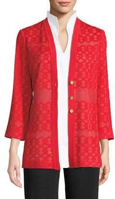 Misook Subtly Sheer Button-Front Jacket, Plus Size