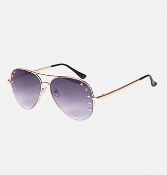 Avenue Studded Half Frame Aviator Sunglasses