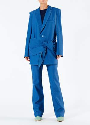Tibi Linen Viscose Long Blazer with Removable Tie