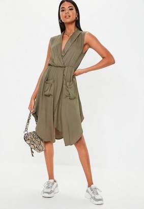 Missguided Khaki Wrap Front Sleeveless Midi Dress, Khaki